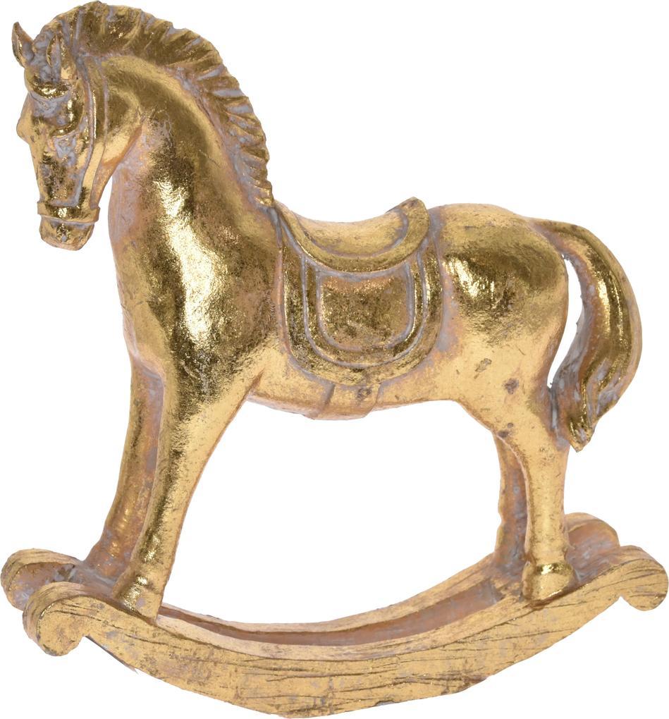 Figurina polirasina, calut-balansoar, auriu, 19.5 cm