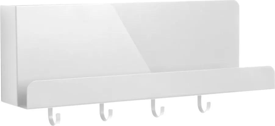 Organizator de perete cu cârlige Leitmotiv Perky, lungime 46 cm, alb