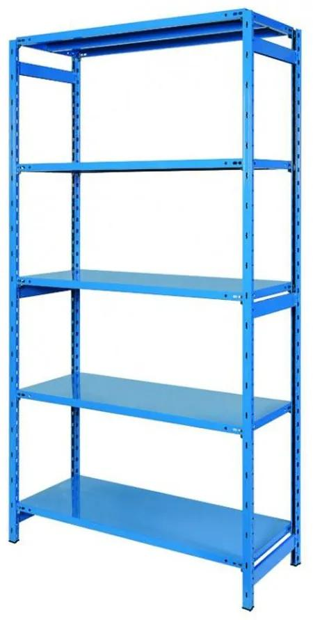 Etajera albastra metalica cu 5 polite, 100x40x180 cm
