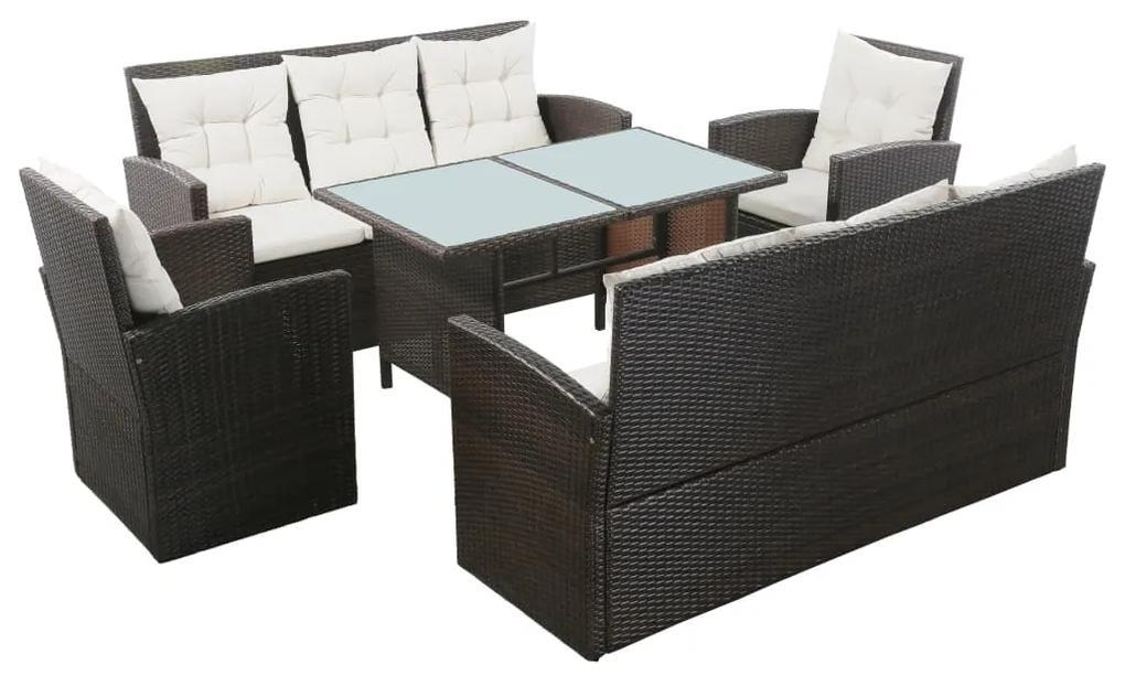 43973 vidaXL Set mobilier de grădină cu perne, 5 piese, maro, poliratan