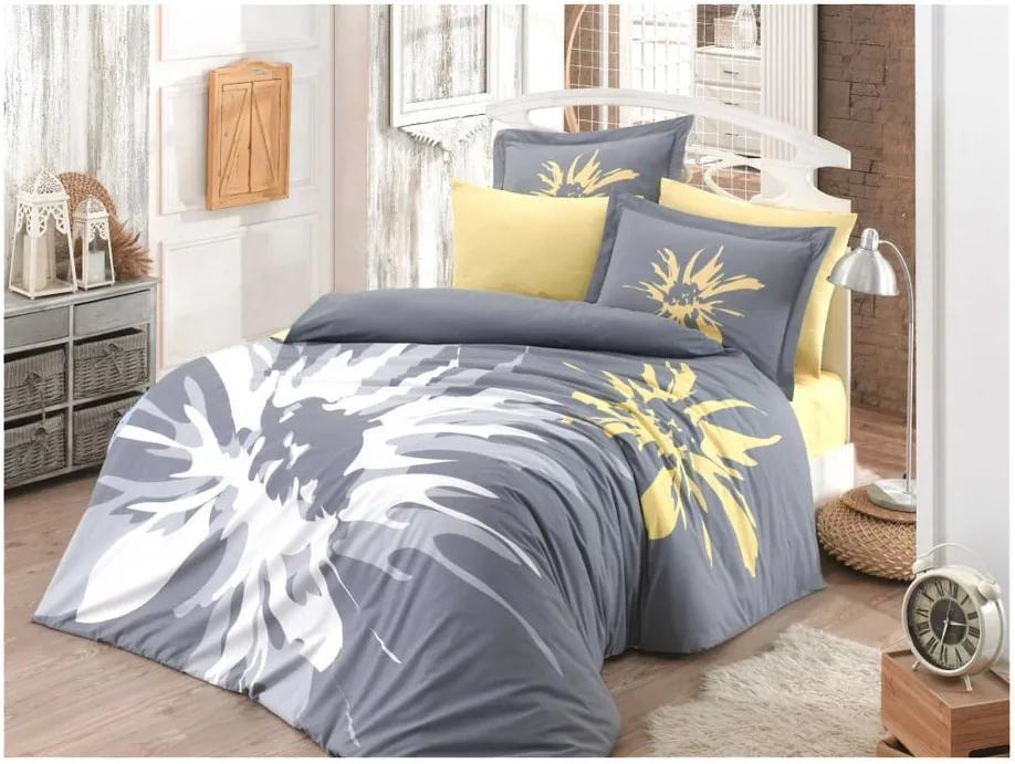 Lenjerie de pat cu cearșaf din bumbac poplin Ahley, 200 x 220 cm