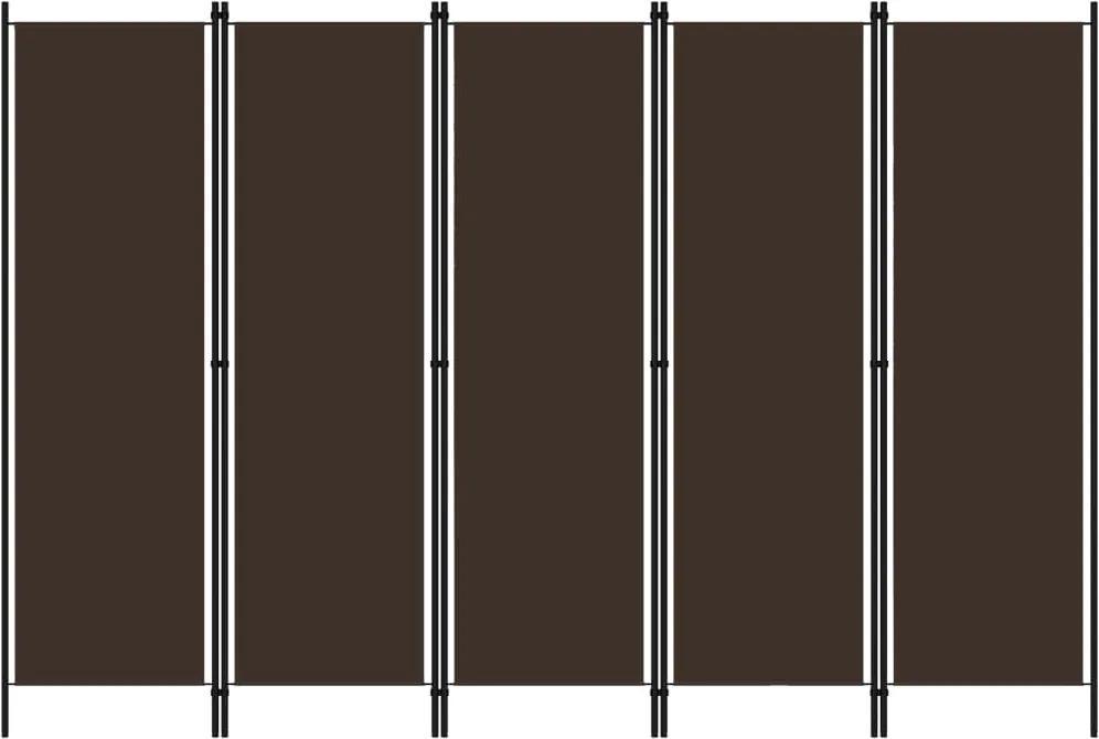 Paravan de camera cu 5 panouri, maro, 250 x 180 cm