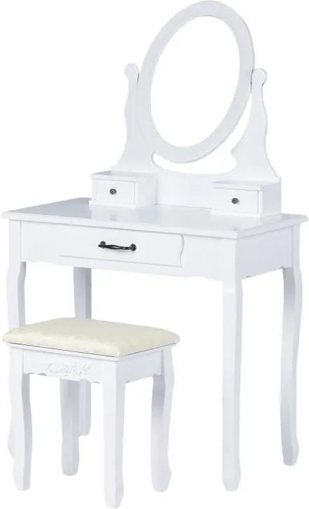 Set Masa Toaleta pentru Machiaj cu Oglinda Ovala si Sertare + Scaun, Stil Simplist, Culoare Alb