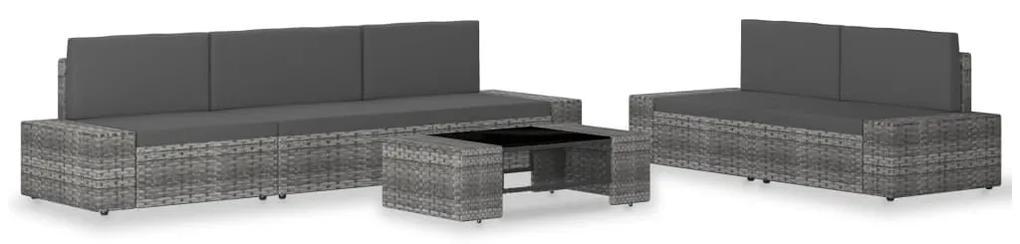 3054600 vidaXL Set mobilier de grădină, 6 piese, gri, poliratan