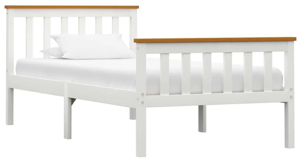 283245 vidaXL Cadru de pat, alb, 100 x 200 cm, lemn masiv de pin