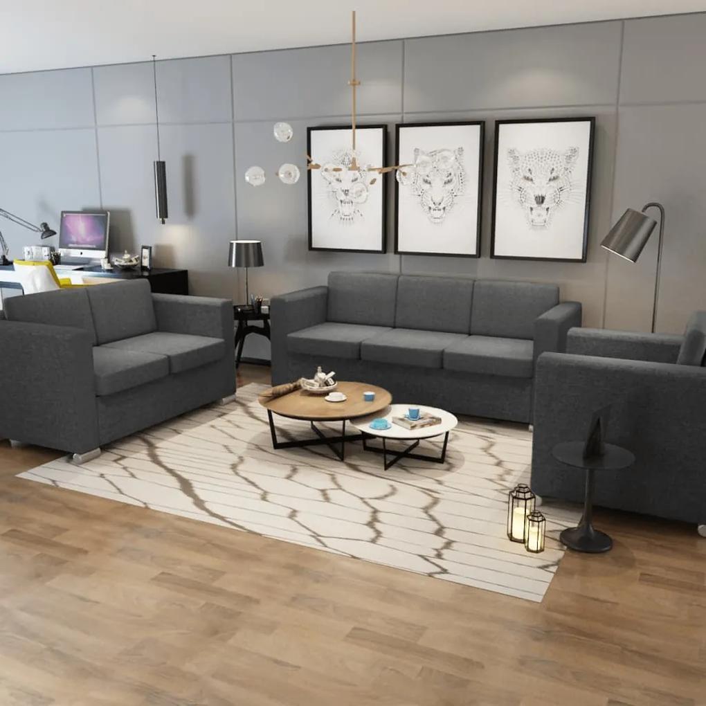 274215 vidaXL Set canapele, 3 piese, gri închis, material textil