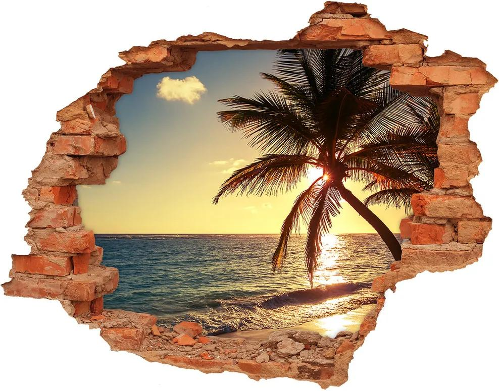 Autocolant 3D gaura cu priveliște Plaja tropicala
