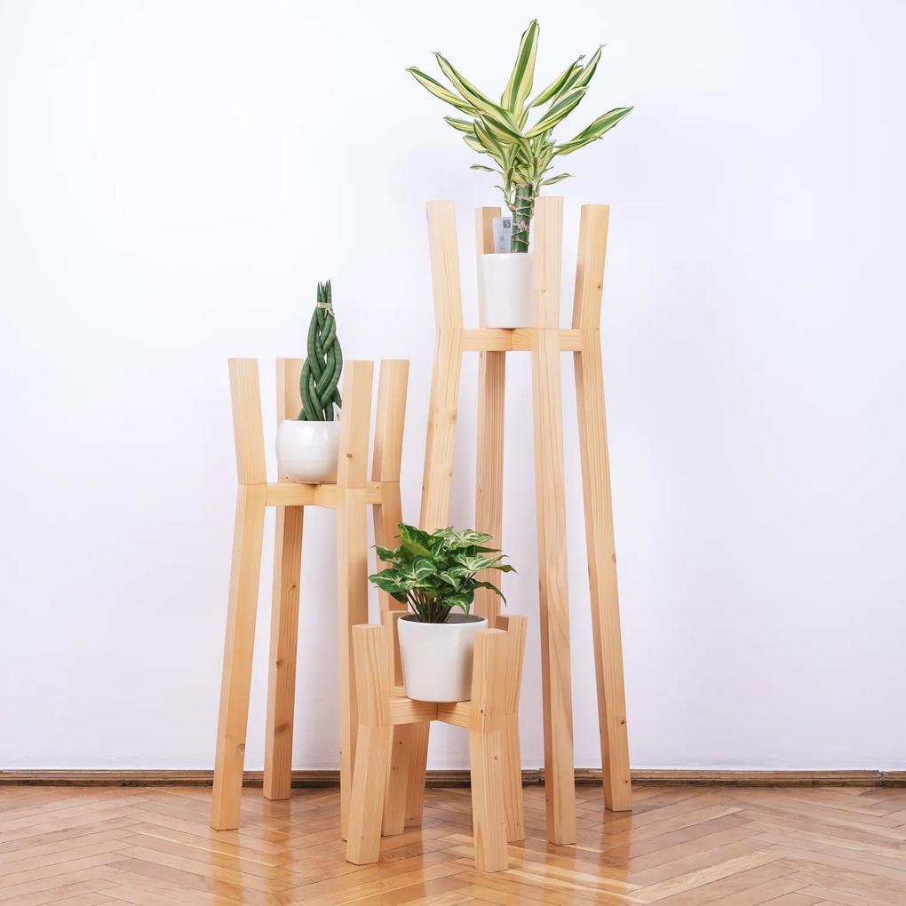 Set suporturi pentru flori din lemn masiv, tip stalpi