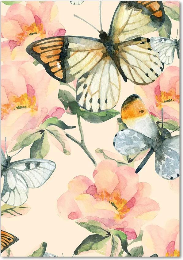 Tablou acrilic Trandafiri și fluturi