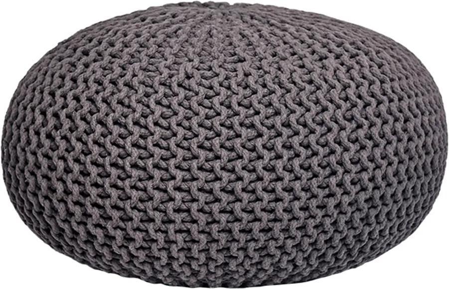 Puf tricotat LABEL51 Knitted XL, gri închis