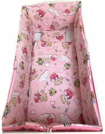 Deseda - Lenjerie de pat bebelusi cu aparatori laterale pufoase  ursi cu albine pe roz