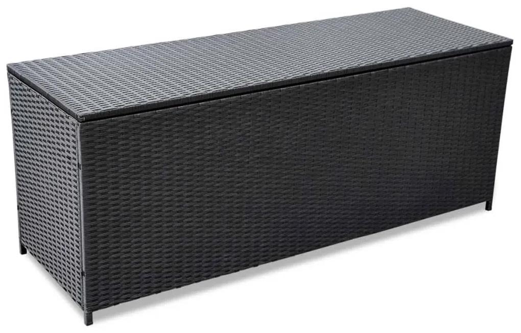 43134 vidaXL Ladă de depozitare de grădină, negru, 150x50x60 cm, poliratan