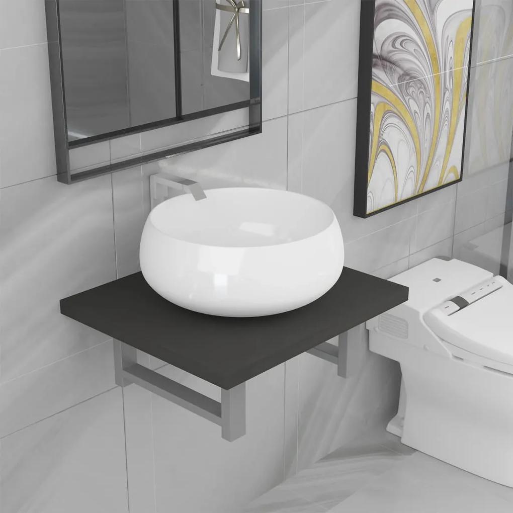 279317 vidaXL Set mobilier de baie, 2 piese, gri, ceramică