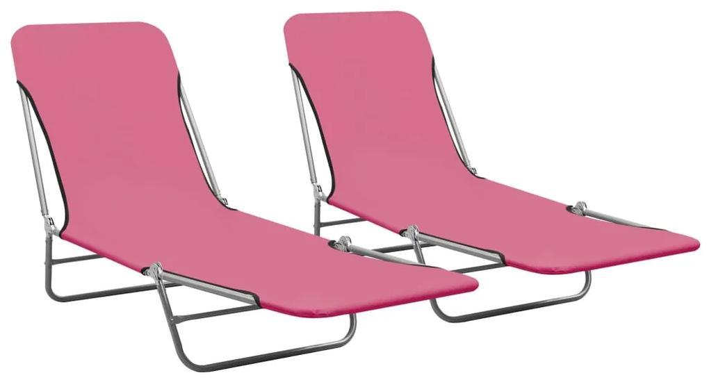 310345 vidaXL Șezlonguri pliabile, 2 buc., roz, oțel & material textil