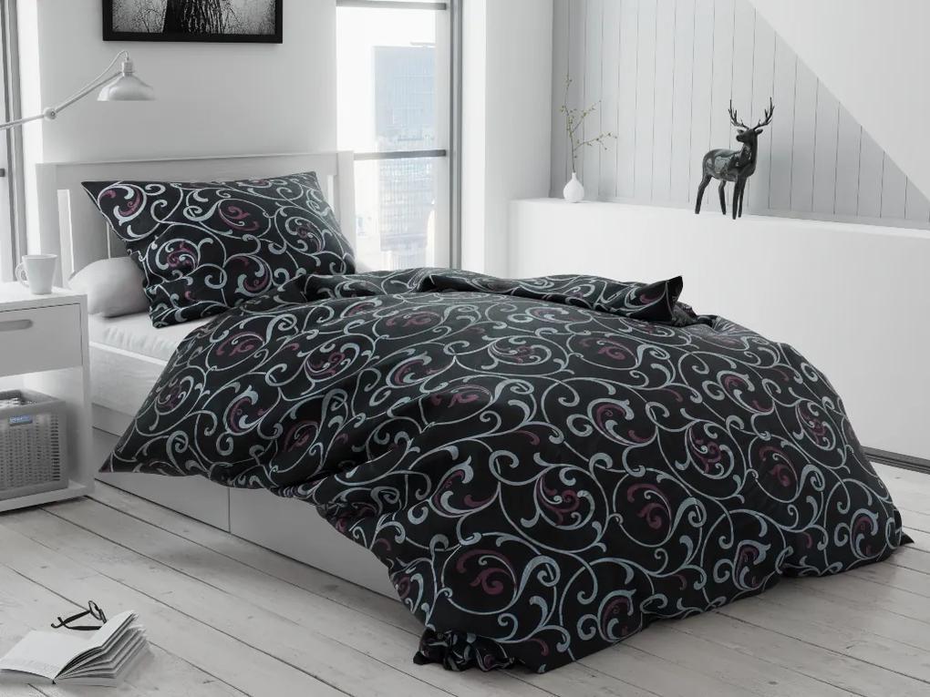 Lenjerie de pat bumbac Jakub neagră