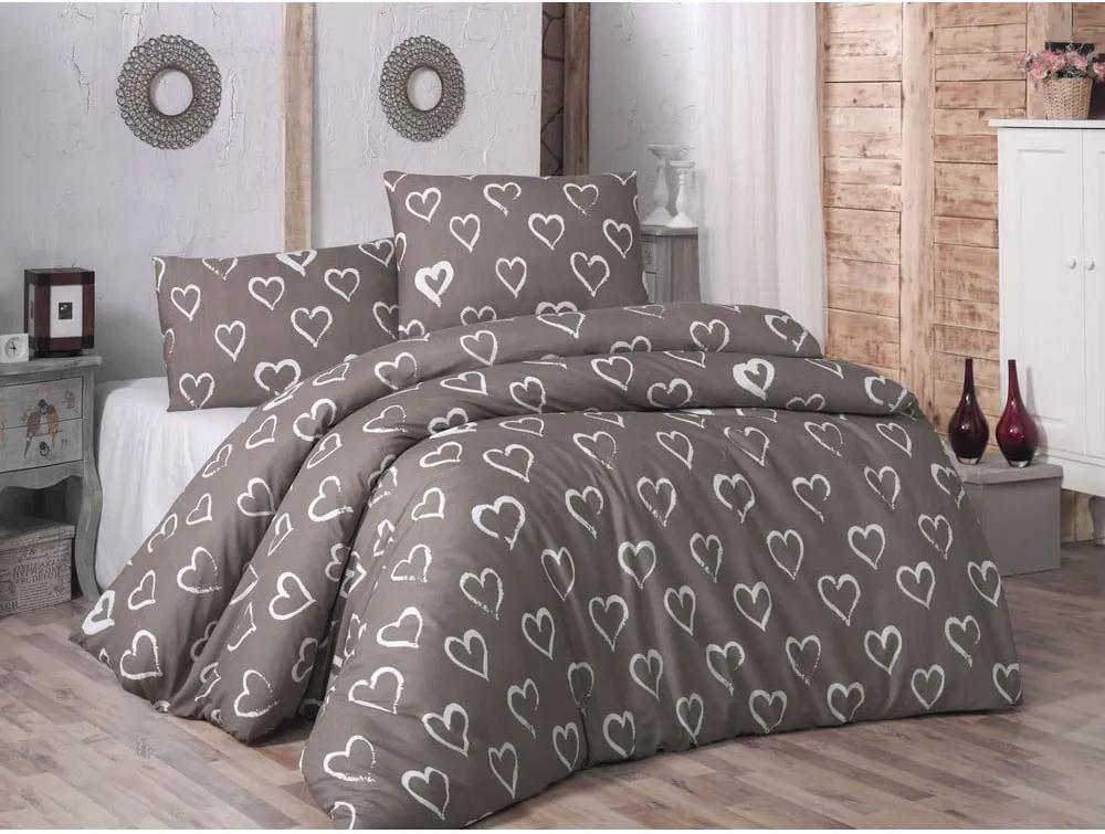 Lenjerie de pat cu cearșaf și fețe de pernă Hearts, 200 x 220 cm