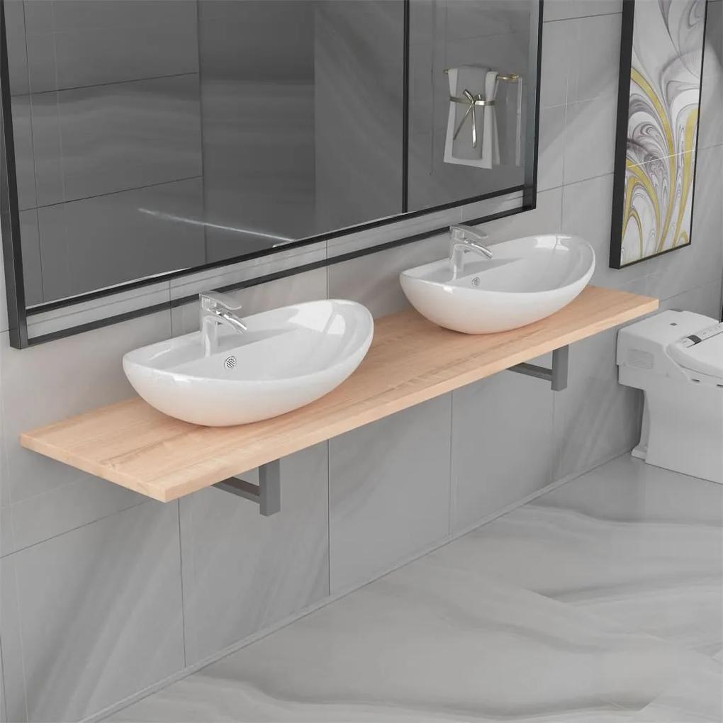 279388 vidaXL Set mobilier de baie din trei piese, stejar, ceramică