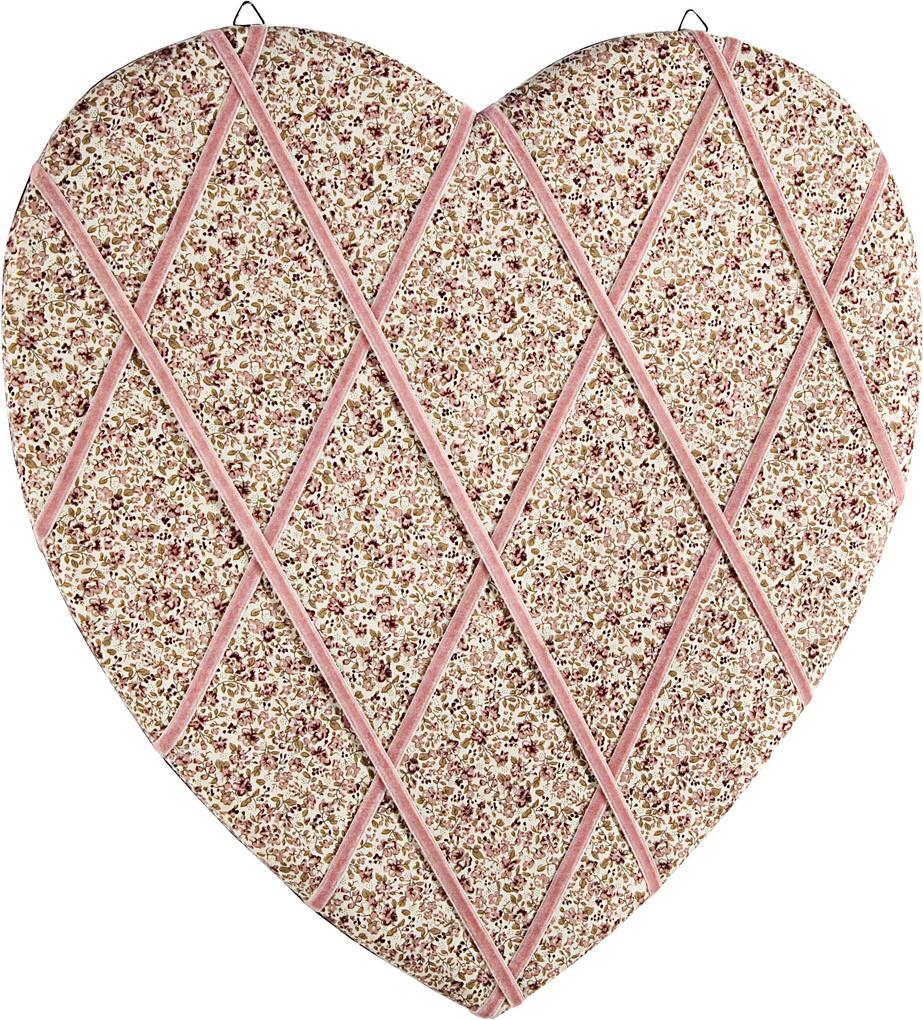 Decoratiune suspendabila pentru perete textil inima Roses Memo Board 40x40 cm