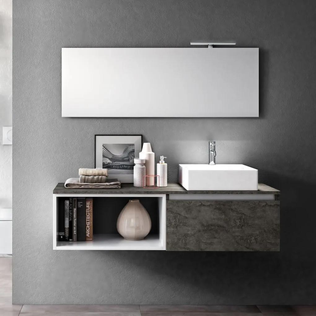 Set de baie cu 6 piese PERTH, Melamina Aluminiu Abs Sticla Ceramica Metal, Gri, 140x46.5x190 cm