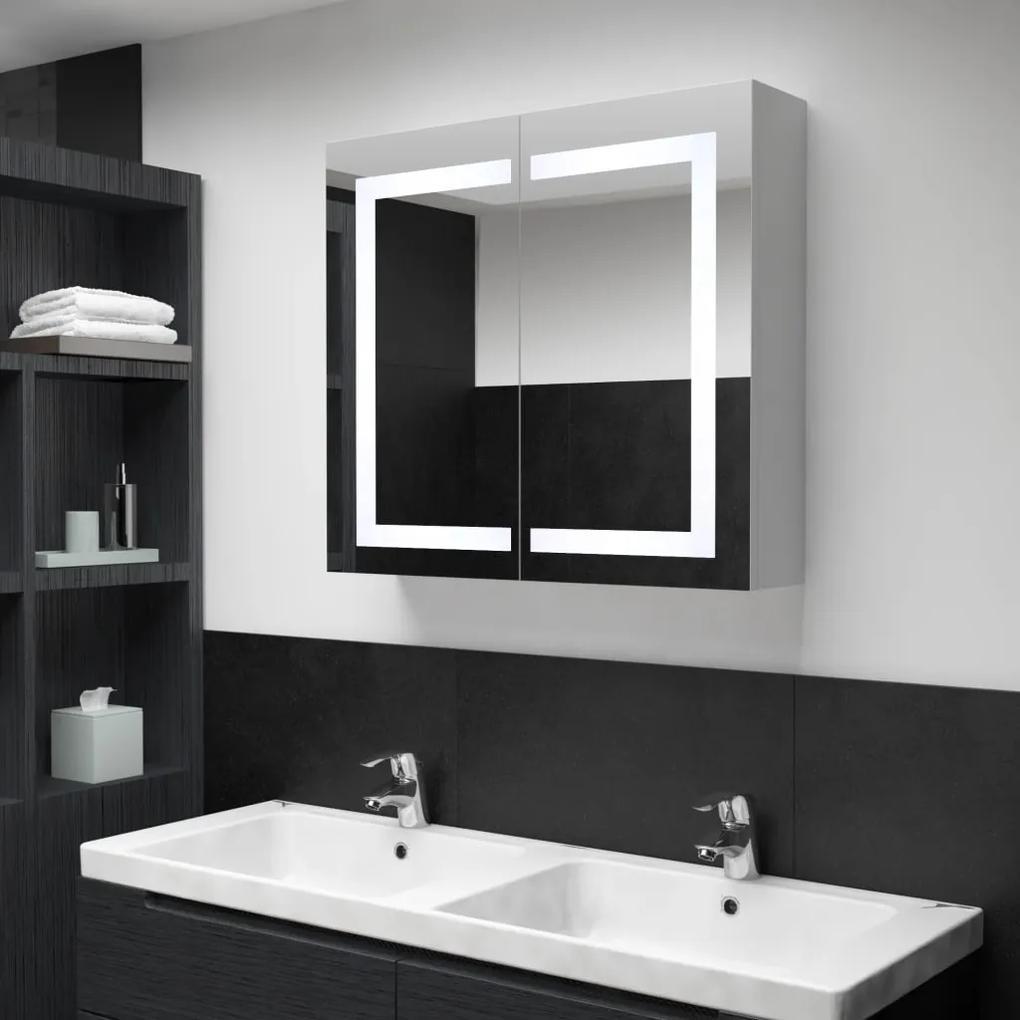 285123 vidaXL Dulap de baie cu oglindă și LED, 80 x 12,2 x 68 cm