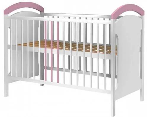 Patut copii din lemn Anita 120x60 cm alb-roz+Saltea de 8 cm