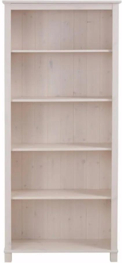Bibliotecă din lemn masiv de pin Støraa Pinto, alb
