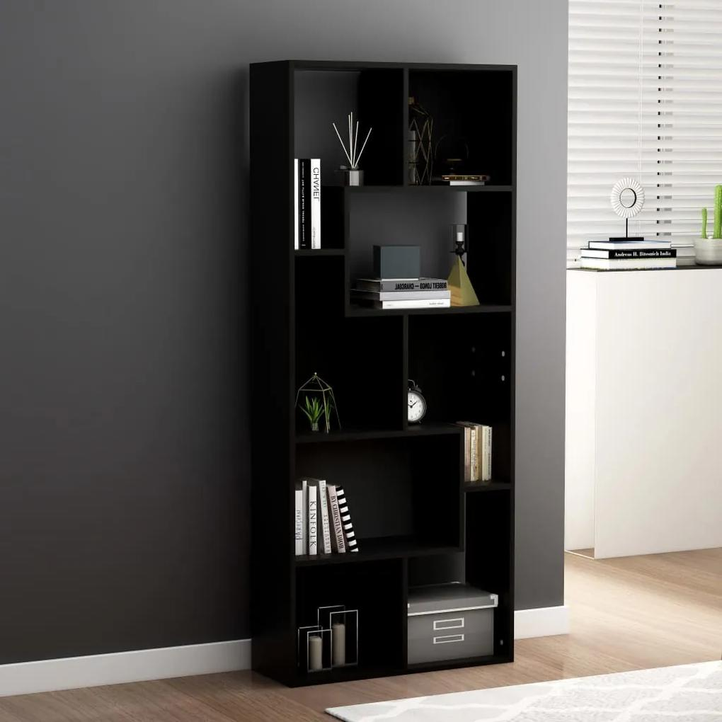 801878 vidaXL Bibliotecă, negru, 67 x 24 x 161 cm, PAL