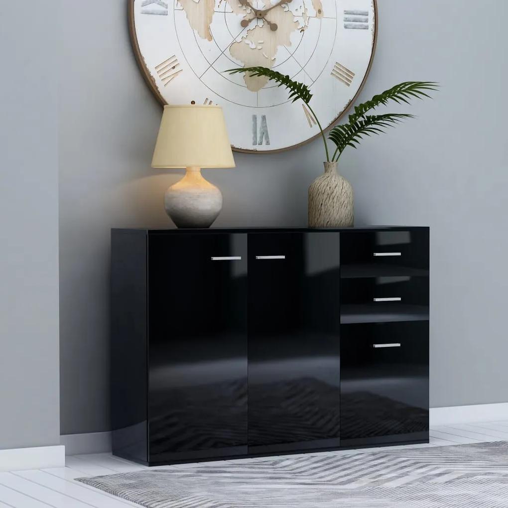 800700 vidaXL Servantă, negru extralucios, 105 x 30 x 75 cm, PAL