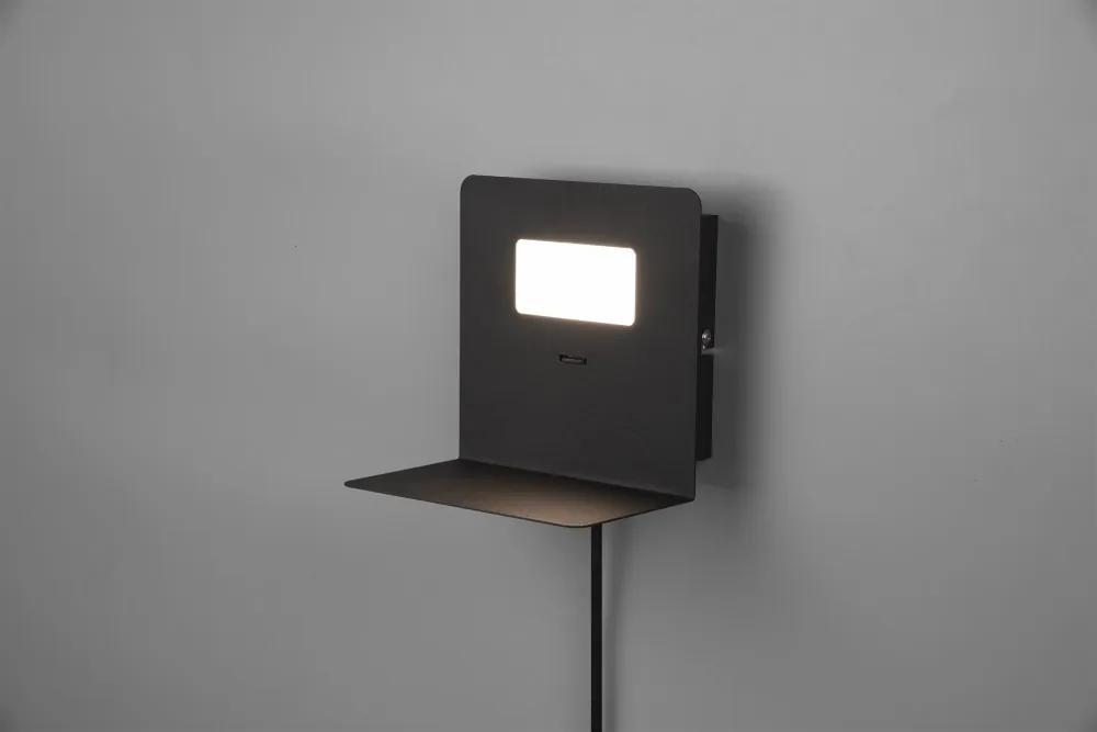 Trio 222670132 Aplice perete cu intrerupator ALOFT negru mat metal incl. 1 x 3W LED/ 3000K/ 1 x 350Lm 350lm IP20 A+