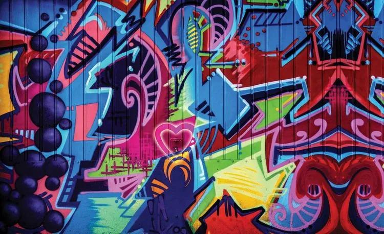 Graffiti Street Art Fototapet, (211 x 90 cm)
