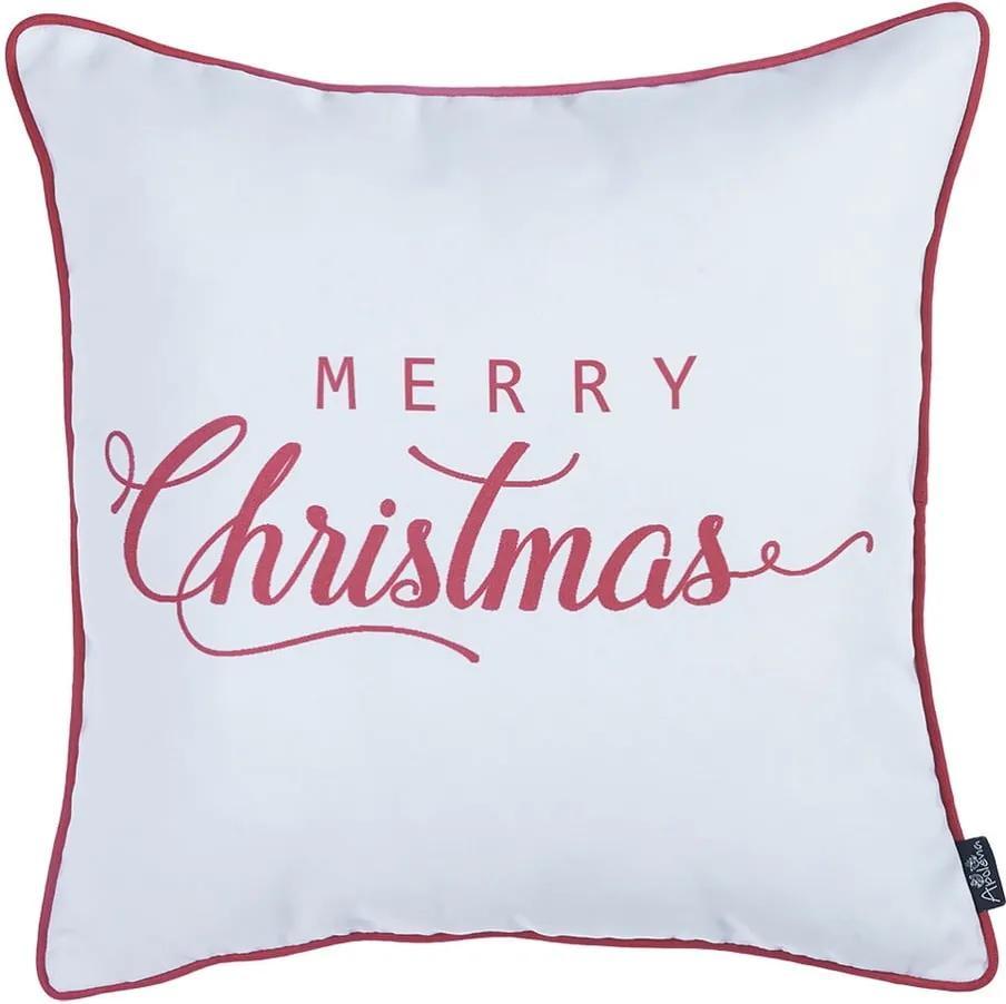 Față de pernă Mike & Co. NEW YORK Honey Merry Christmas, 45 x 45 cm, alb-roșu