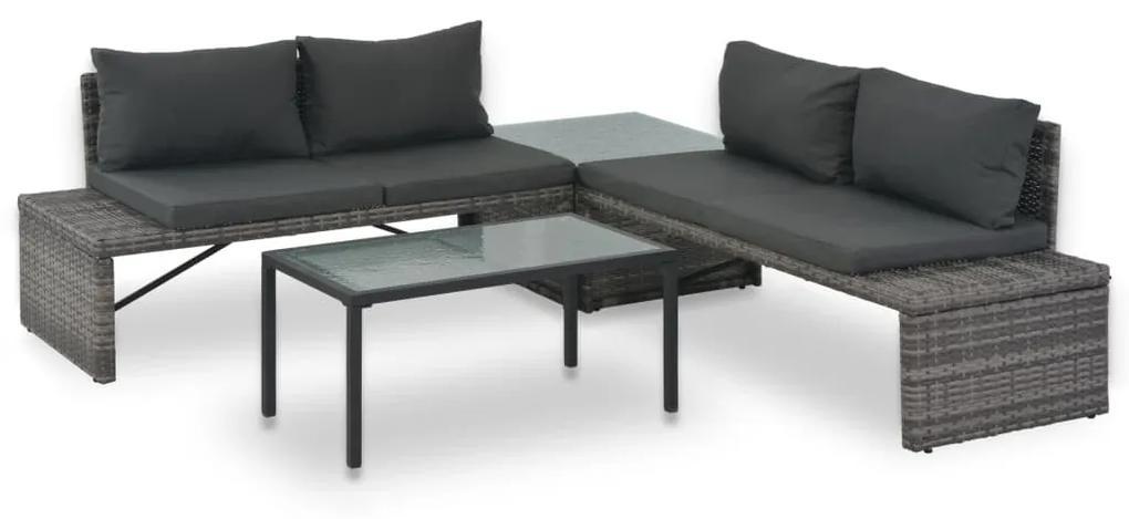 44720 vidaXL Set mobilier de grădină cu perne, 3 piese, gri, poliratan