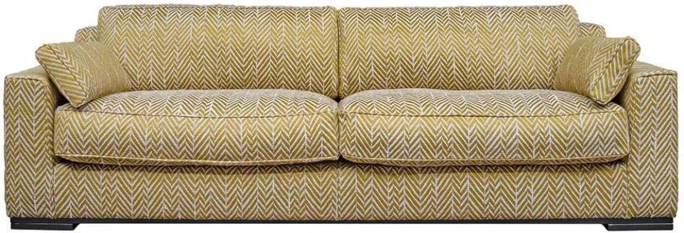 Canapea galbena/alba din textil si lemn pentru 4 persoane Metro