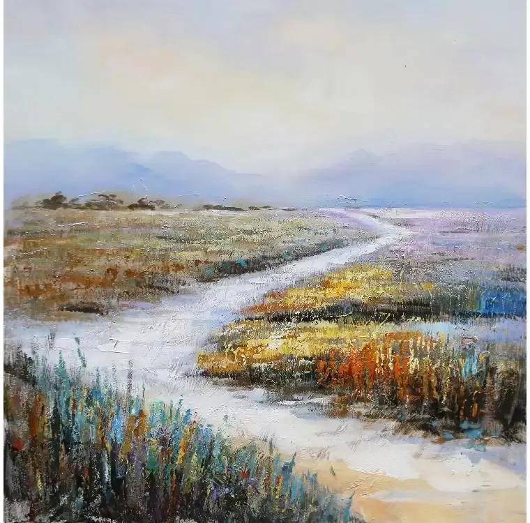 Tablou pictat manual Dunes 100 x 100 cm