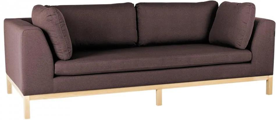 Canapea extensibila rosu bordo/maro din textil si lemn pentru 3 persoane Ambient