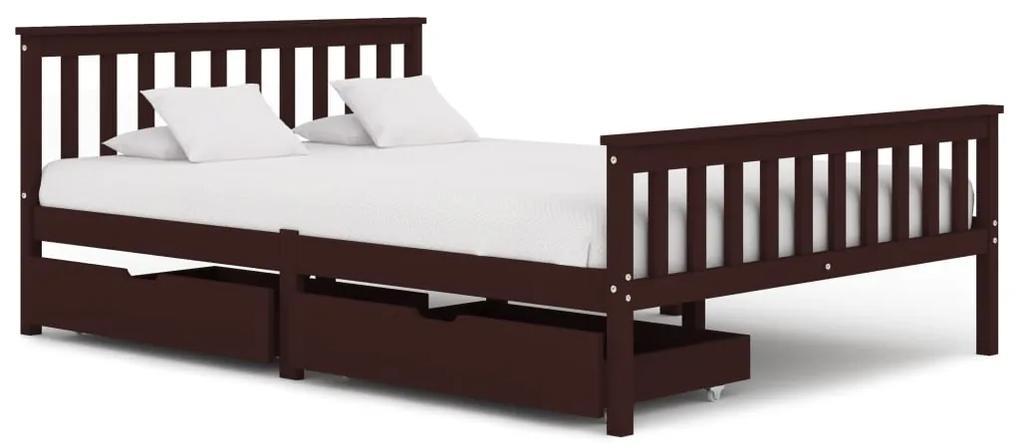 3060618 vidaXL Cadru de pat cu 2 sertare maro închis 140x200 cm lemn masiv pin