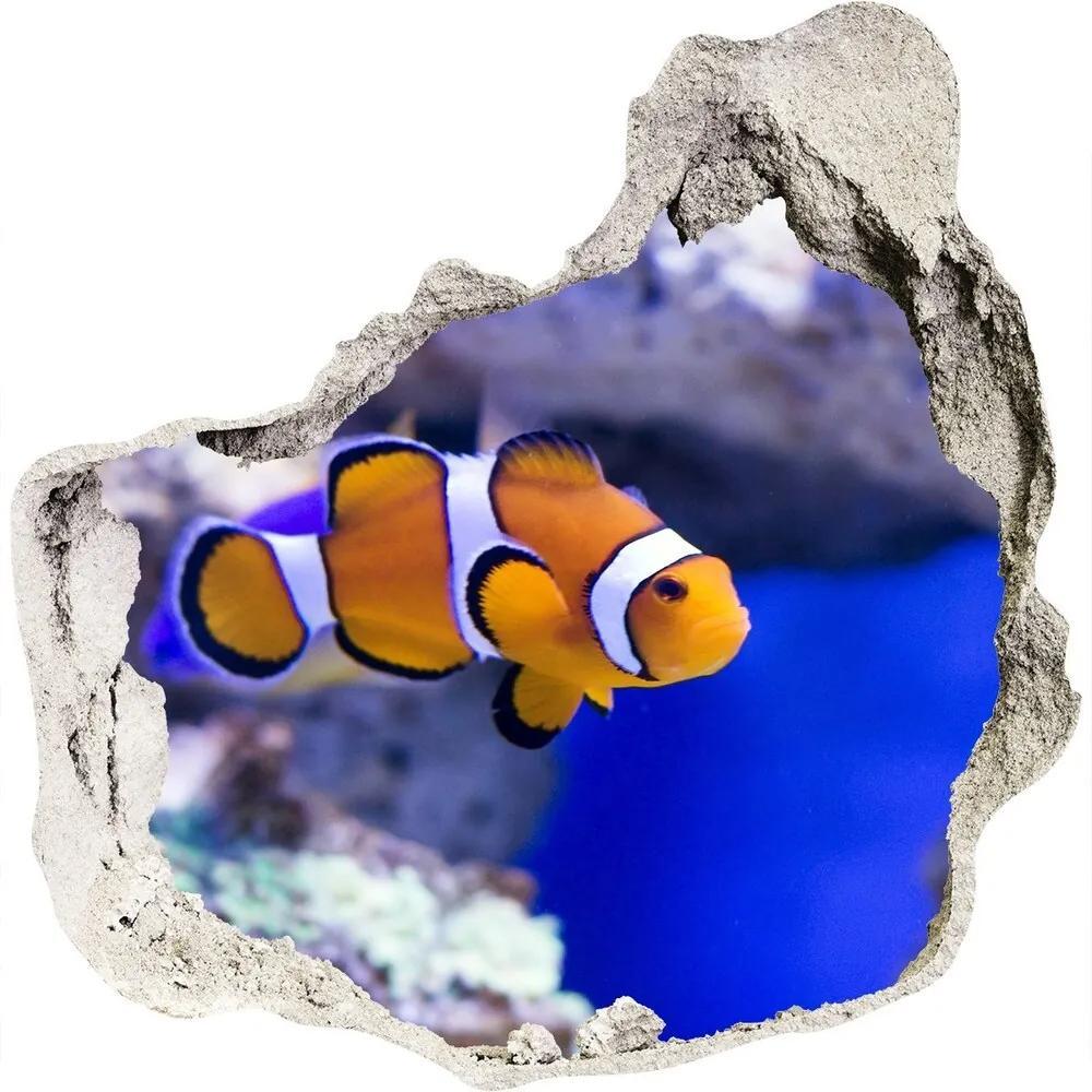 Autocolant de perete gaură 3D Clown recif de corali