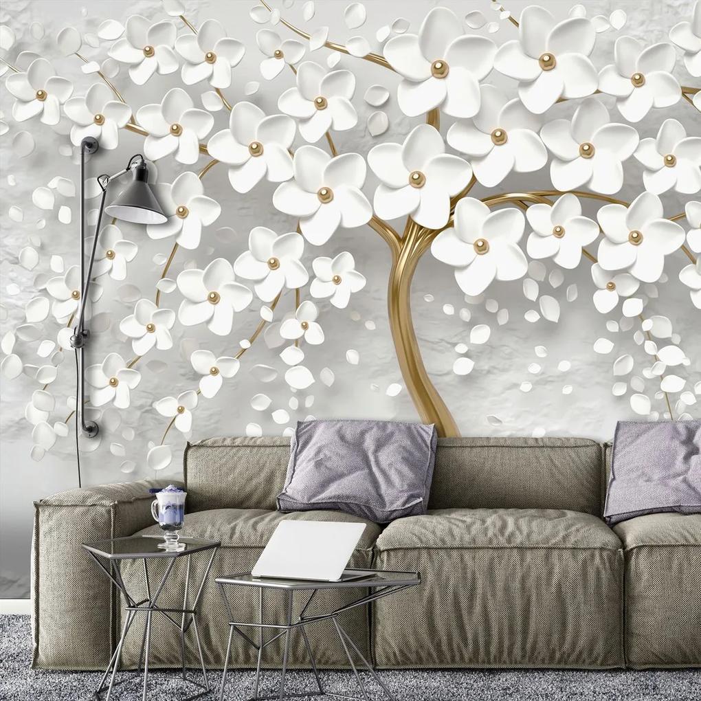Fototapet - Copac și flori albe (152,5x104 cm), în 8 de alte dimensiuni noi