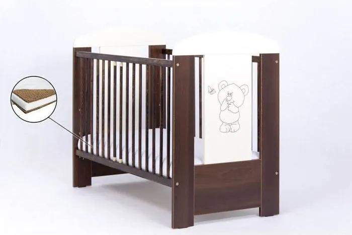 Patut din Lemn Pentru Copii Bear - Wenge + Saltea Cocos 12 cm