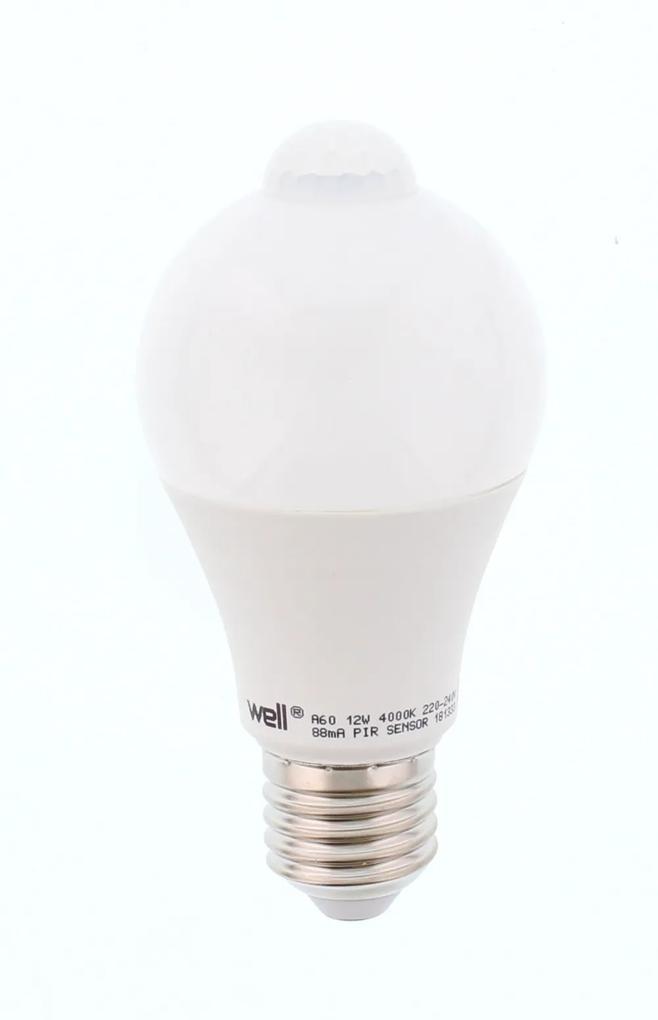 Bec cu LED cu senzor PIR A60 12W lumina naturala Well