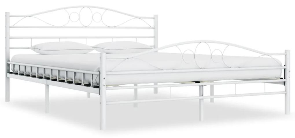 285304 vidaXL Cadru de pat, alb, 160 x 200 cm, metal