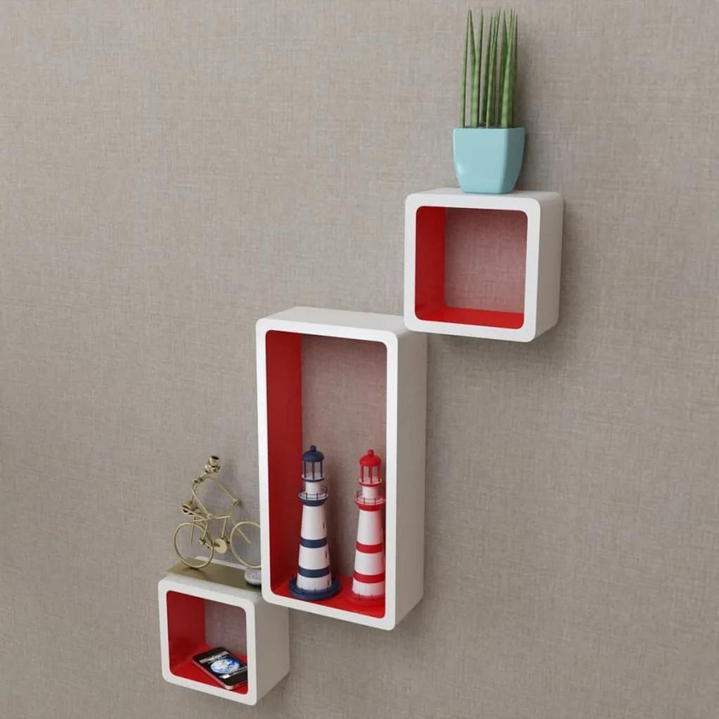 275979 vidaXL Rafturi cub de perete, 6 buc., alb și roșu