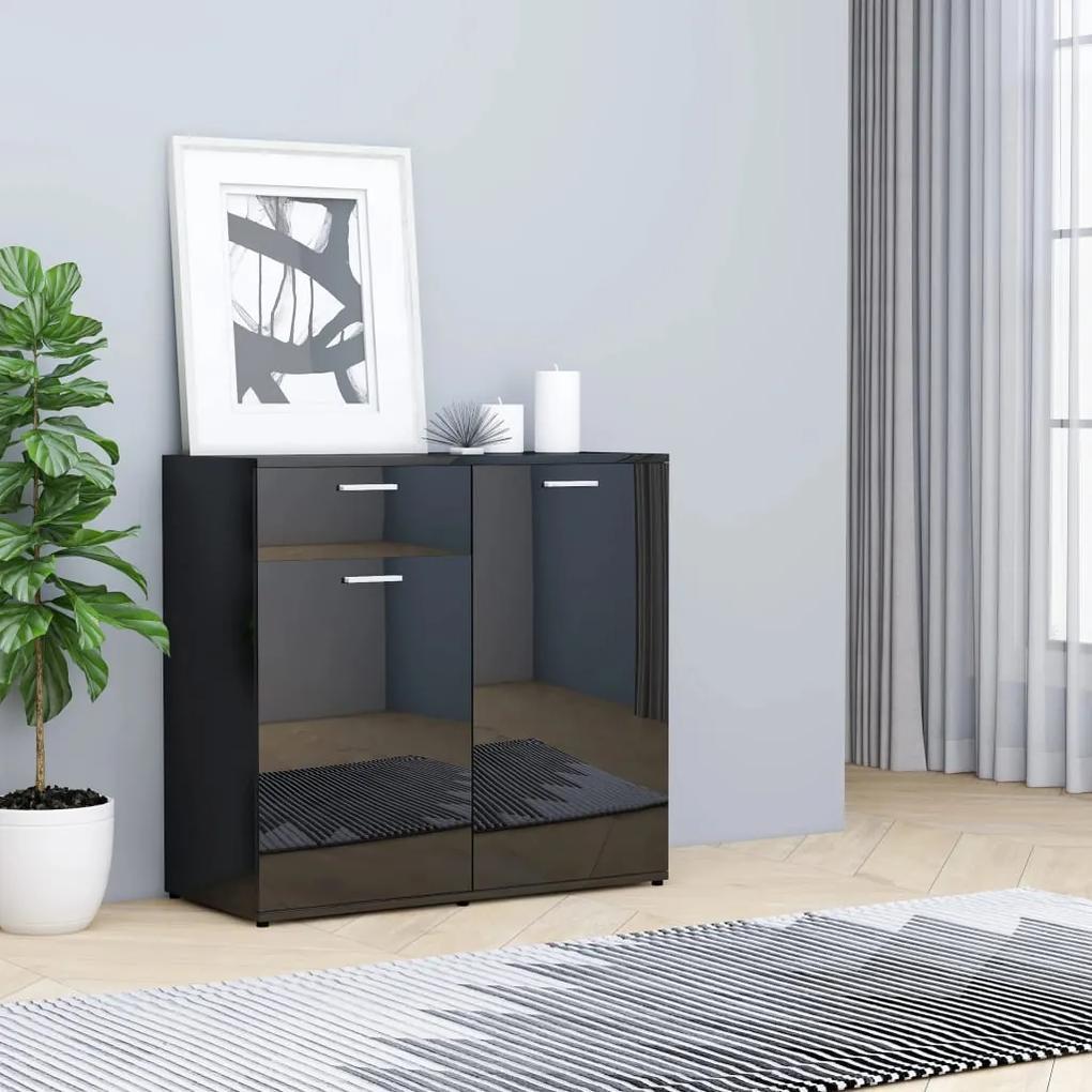 801830 vidaXL Servantă, negru extralucios, 80 x 36 x 75 cm, PAL