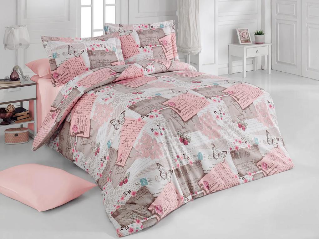 Lenjerie de pat matrimonial SUPER cu husa de perna dreptunghiulara, Hazel, bumbac satinat, gramaj tesatura 120 g mp, multicolor