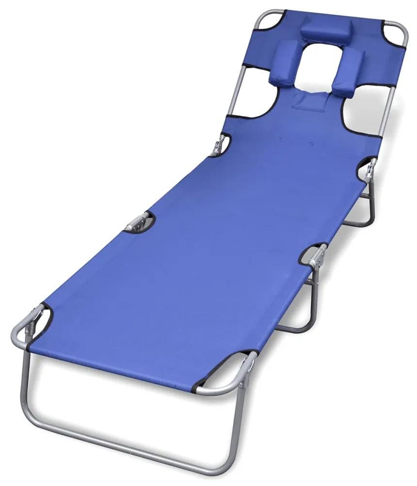 41481 vidaXL Șezlong albastru pliabil pentru plajă, cu tetieră și spătar reglabil