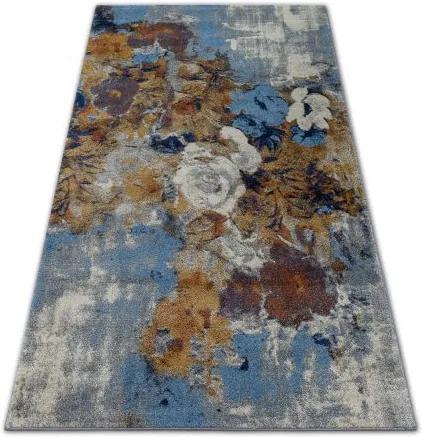 Covor Soft 6312 Flori gri deschis si albastru si muştar 80x150 c