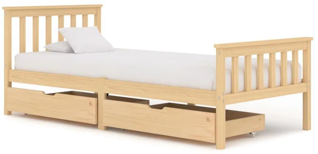 3060336 vidaXL Cadru de pat cu 2 sertare, 90 x 200 cm, lemn masiv de pin