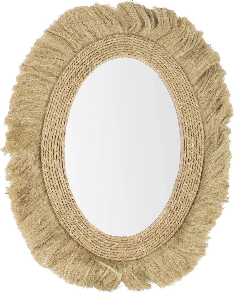Oglinda de perete ovala decorata cu iuta natur Turkana 80 cm x 2.5 cm x 101 h