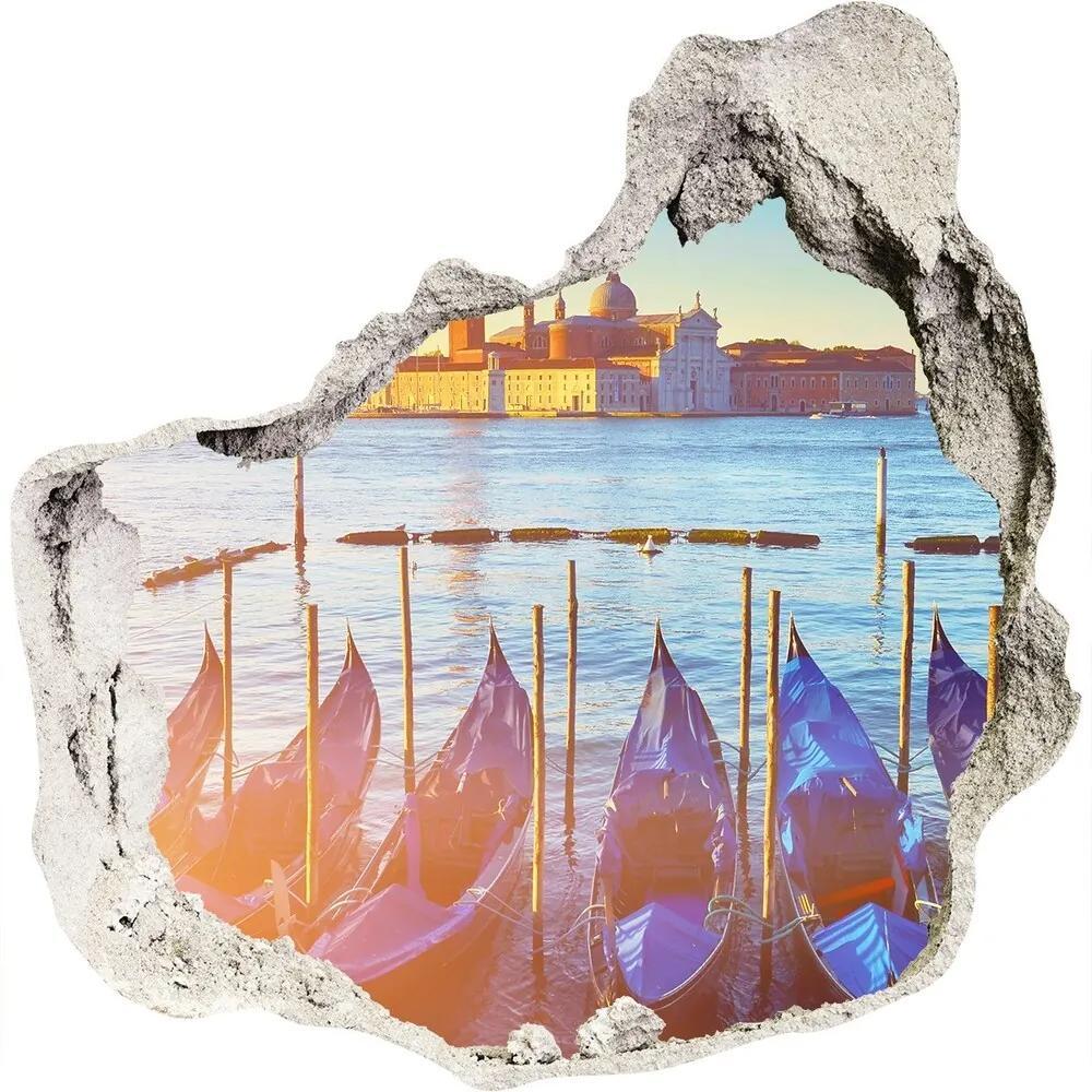 Autocolant de perete gaură 3D Caramida Veneția