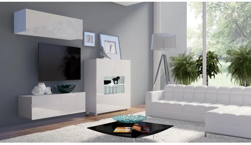 Expedo Set living BRINICA NR9, alb/alb luciu + LED albastru